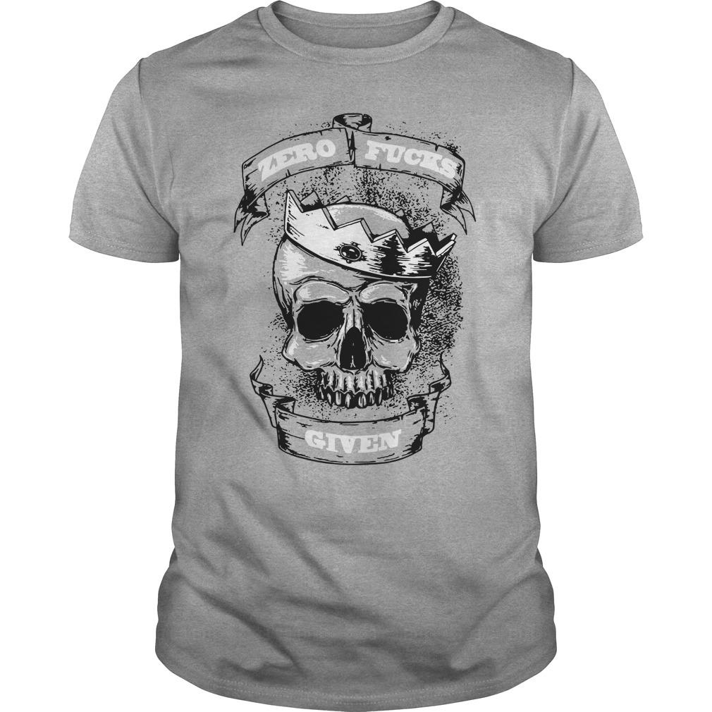 Official Zero fucks given skull shirt