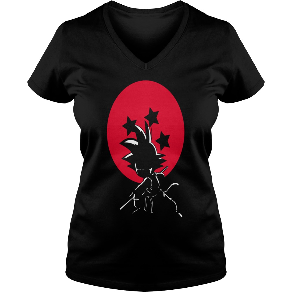 Red Ball Silhouette Goku V-neck t-shirt