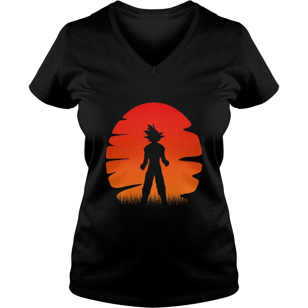 The sunset of super saiyan V-neck t-shirt