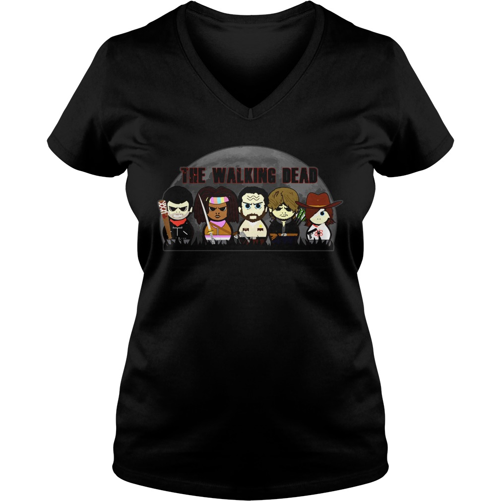 The walking dead chibi V-neck t-shirt