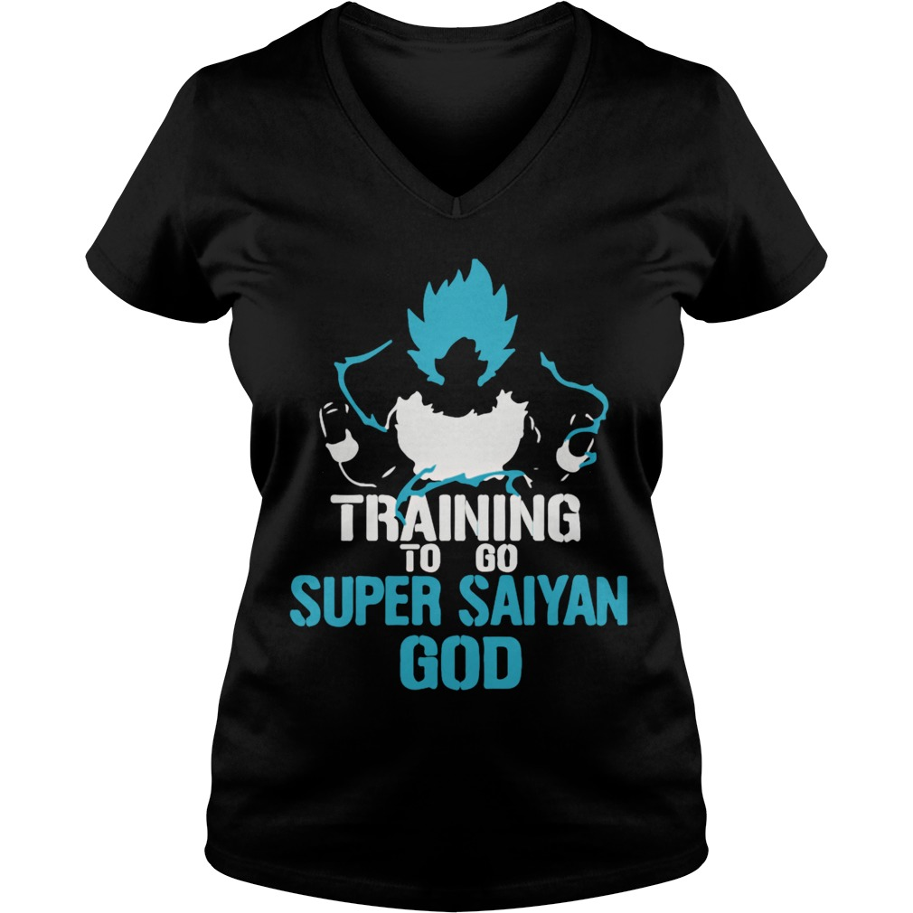 Training to go Super Saiyan GOD DBZ Dragon Ball Z V-neck t-shirt