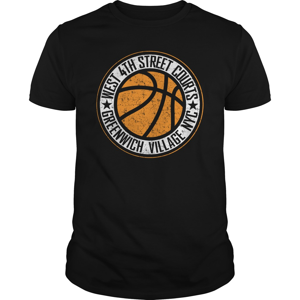 West 4th street basketball courts New York City distressed print shirt
