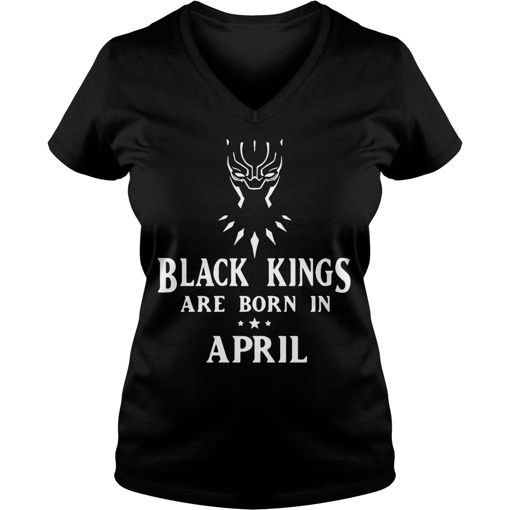 Black Panther black kings are born in April V-neck t-shirt