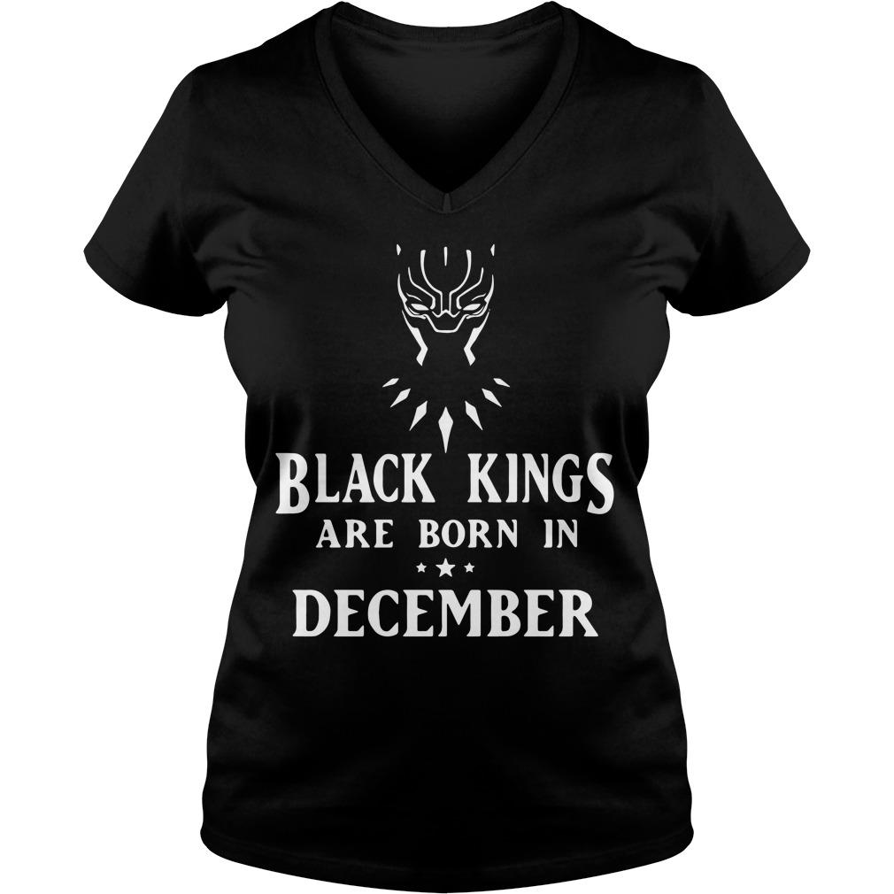 Black Panther black kings are born in December V-neck t-shirt