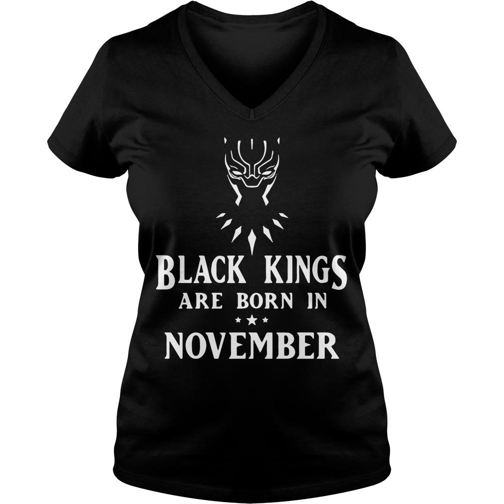 Black Panther black kings are born in November V-neck t-shirt