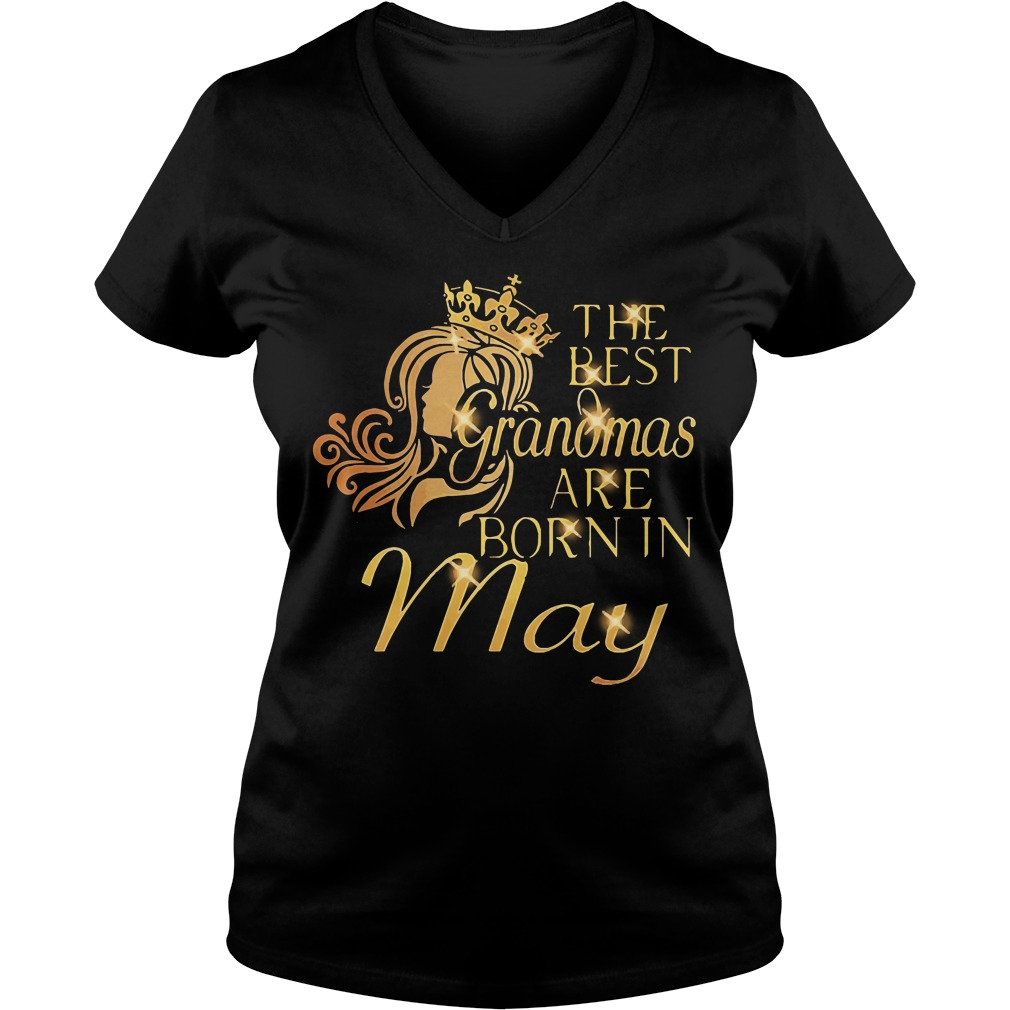 Official The best grandmas are born in May V-neck t-shirt