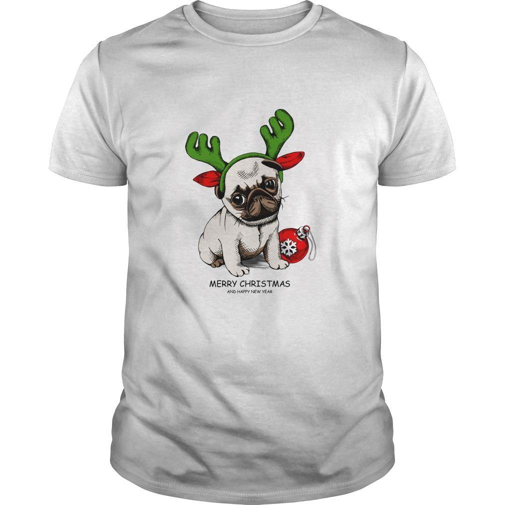 Puppy Pug in a Antler and with Christmas toy ball Guys shirt