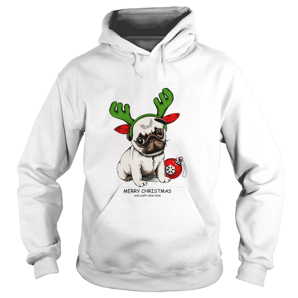 Puppy Pug in a Antler and with Christmas toy ball Hoodie