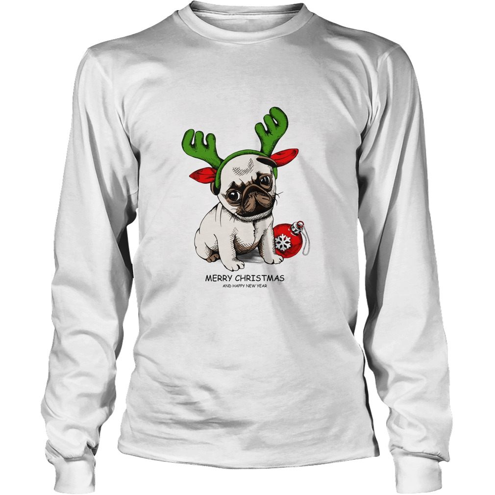 Puppy Pug in a Antler and with Christmas toy ball Longsleeve tee