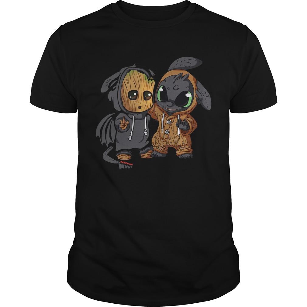 Baby Groot and Night Fury shirt