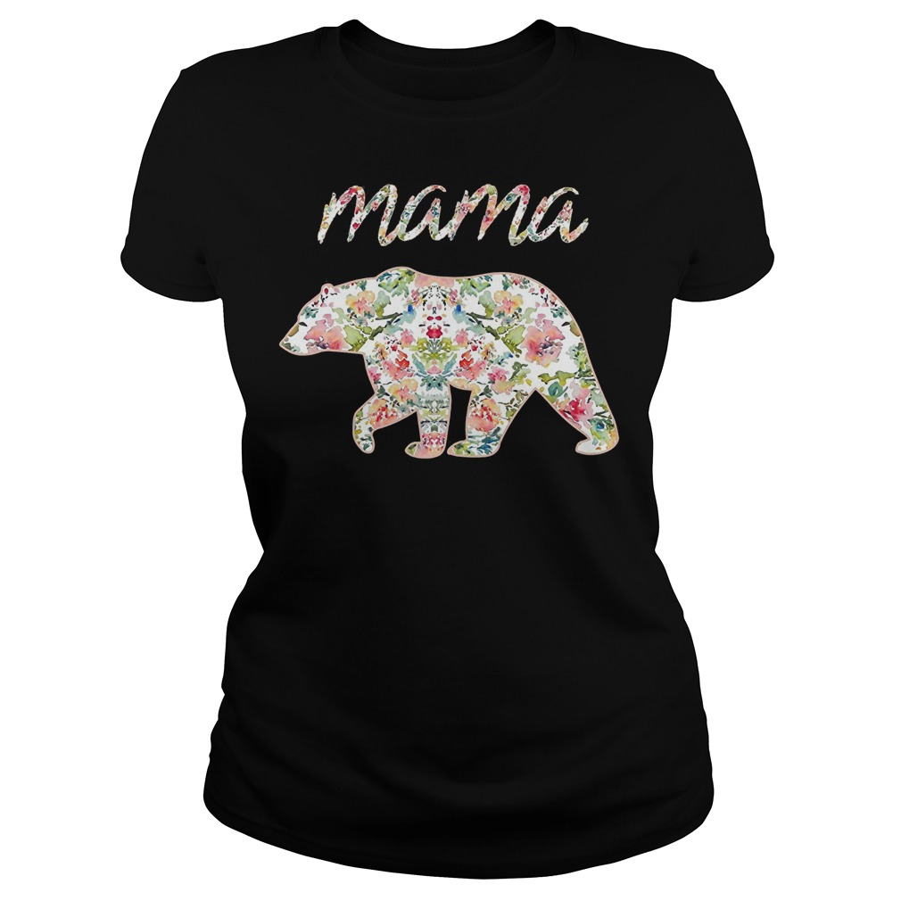 Mama Bear Floral Tee Mom Graphic Shirt
