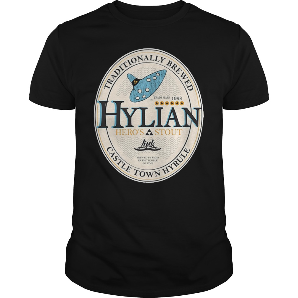 Traditionally brewed hylian heroes stout castle town hyrule shirt
