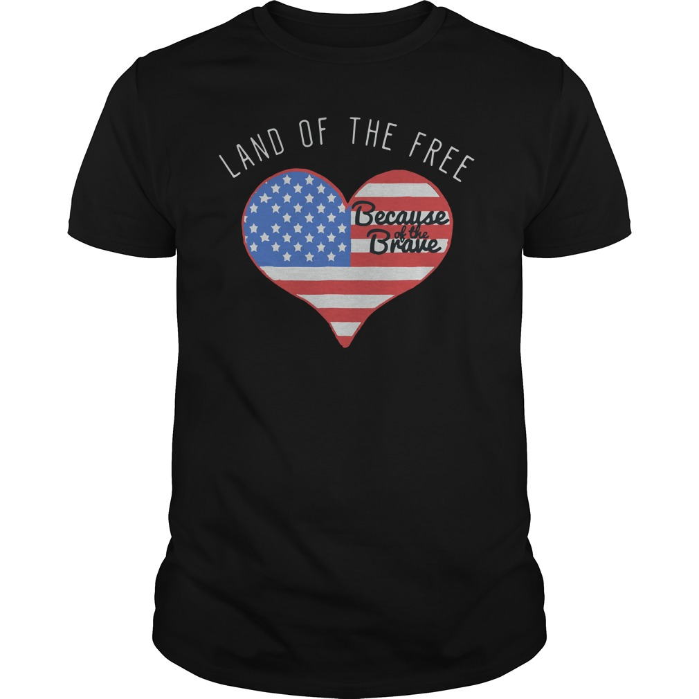 American Flag in heart land of the free because of the brave shirt