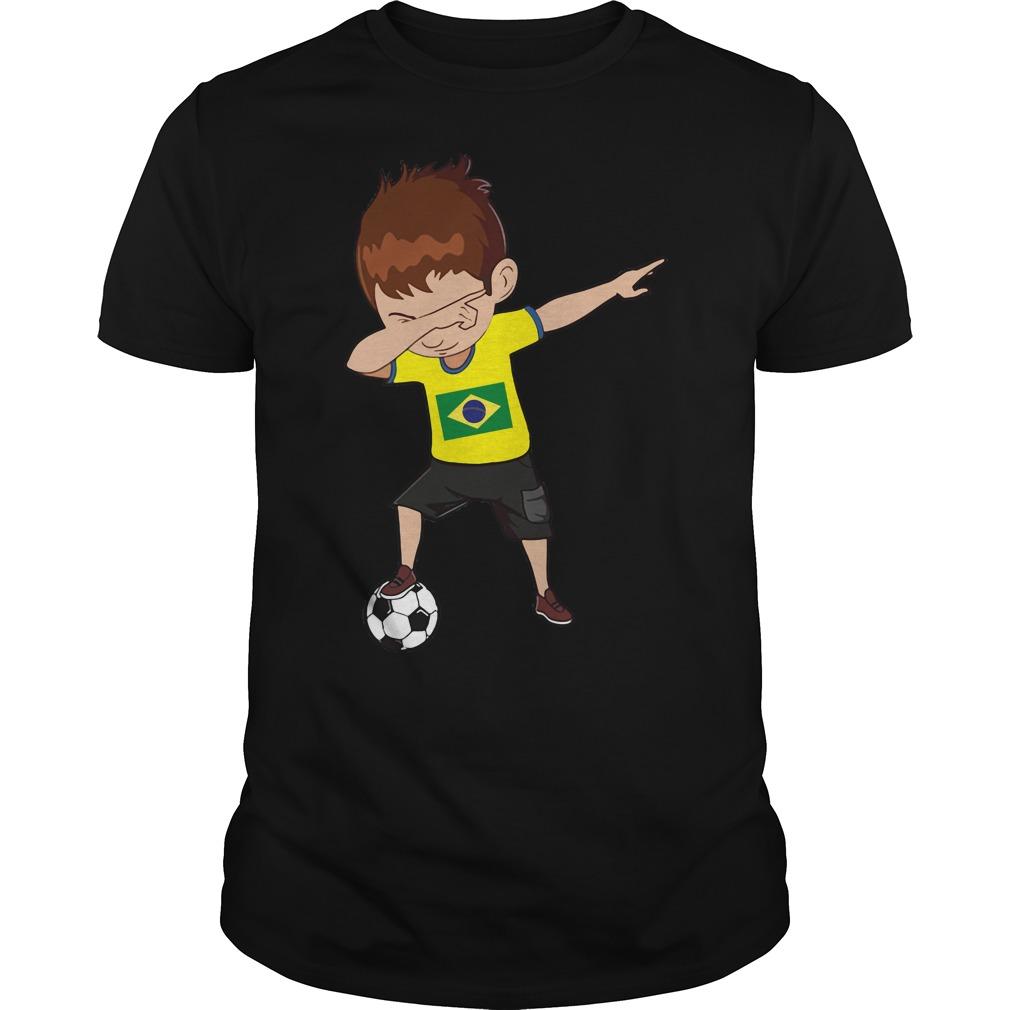 Boy dabbing soccer Brazil World cup 2018 shirt