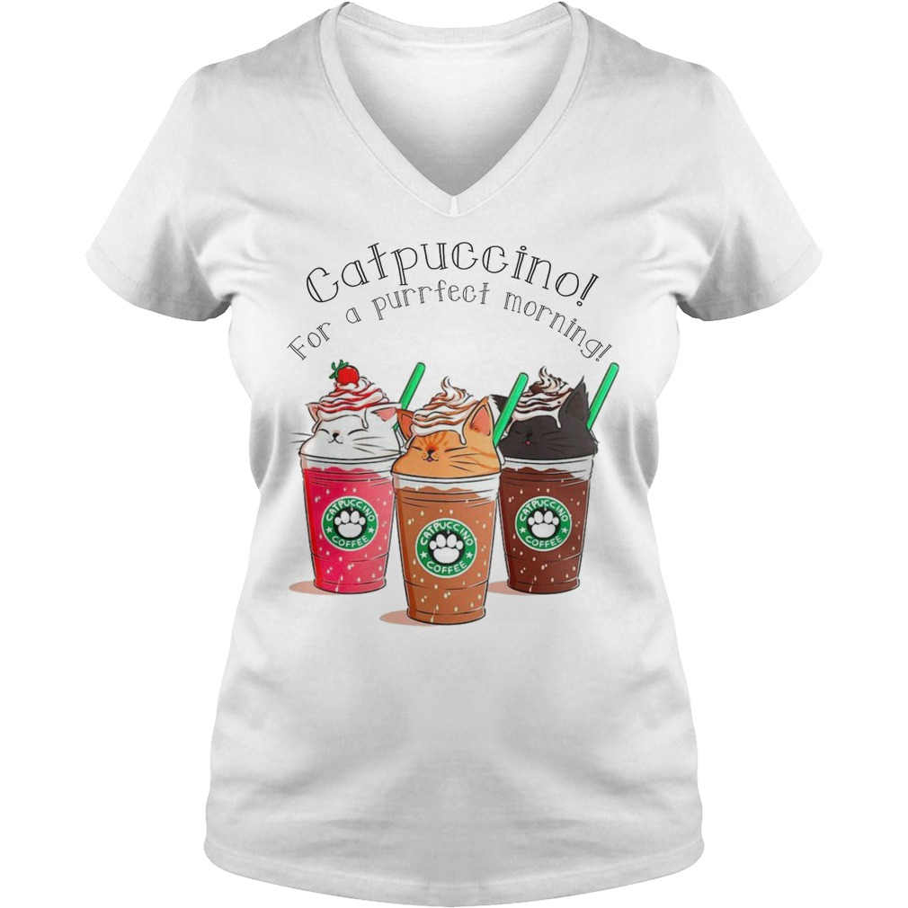Catpuccino for a purrfect morning ladies v-neck
