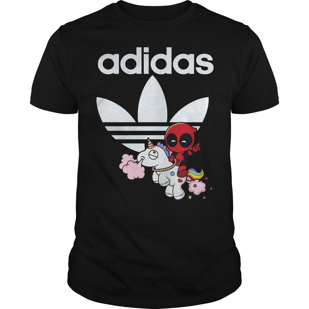 Deadpool ridding unicorn Adidas shirt
