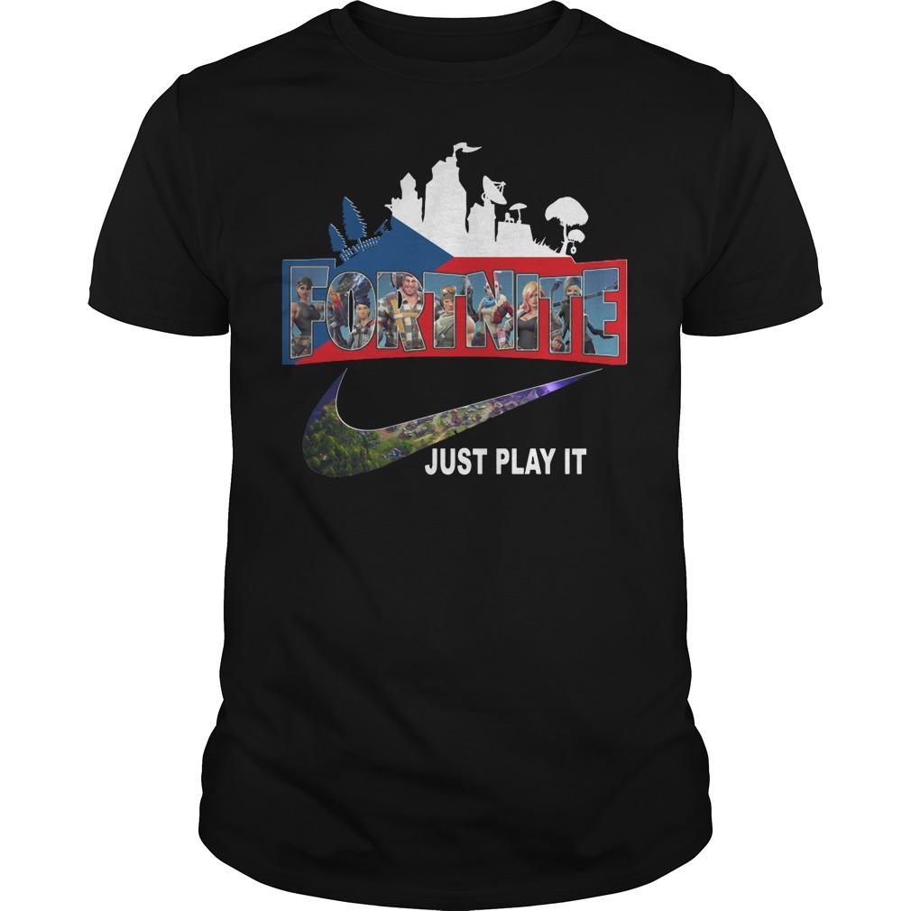 Fortnite battle Royale Czech Republic flag Nike just play it shirt