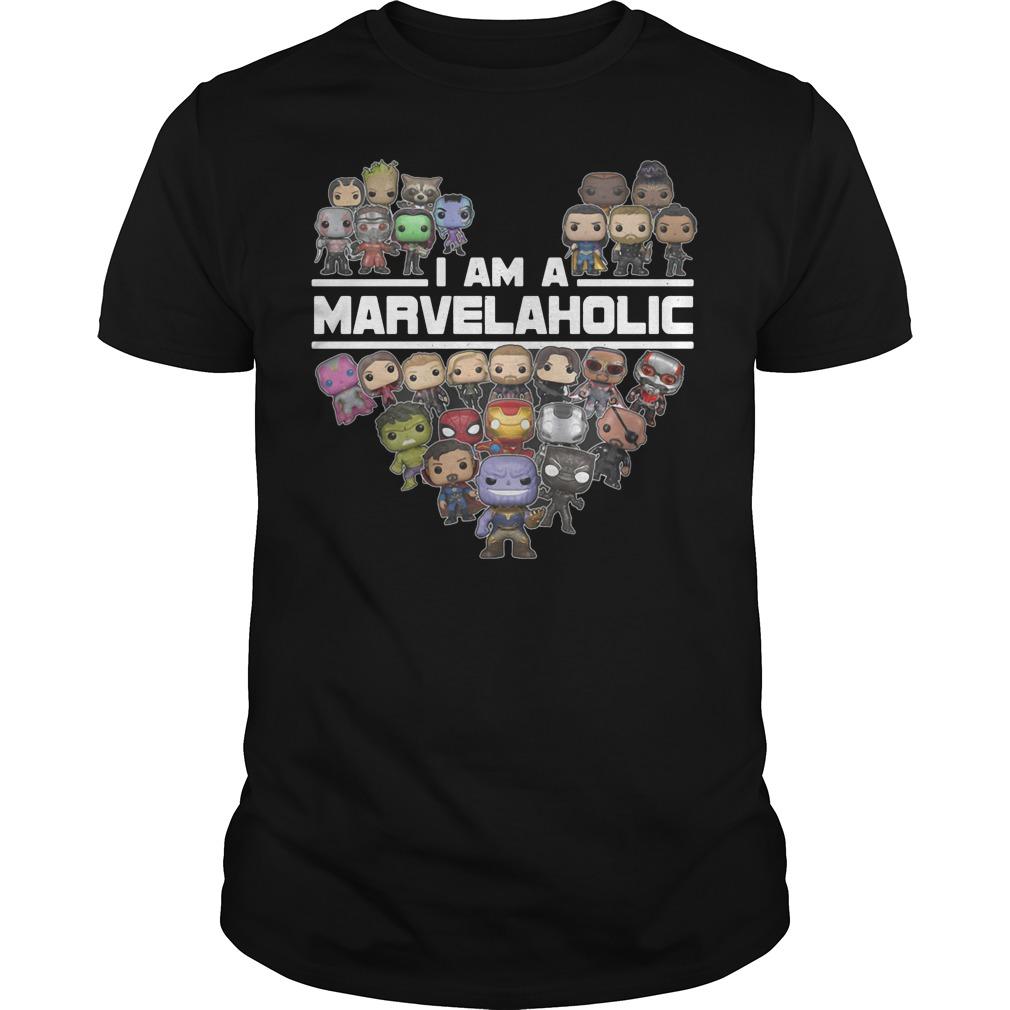 I am a Marvelaholic all hero in Avenger shirt