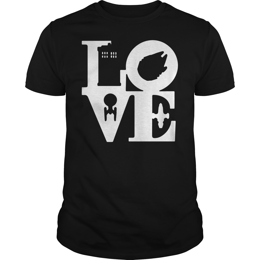 Love House police Serenity, Millennium Falcon, Enterprise space race shirt