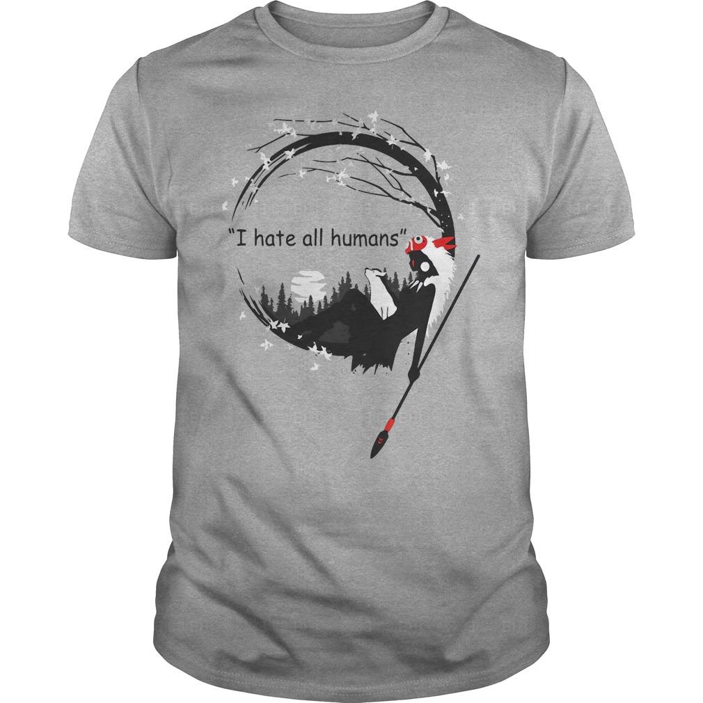 Mononoke Princess Pom Poko I hate all humans shirt
