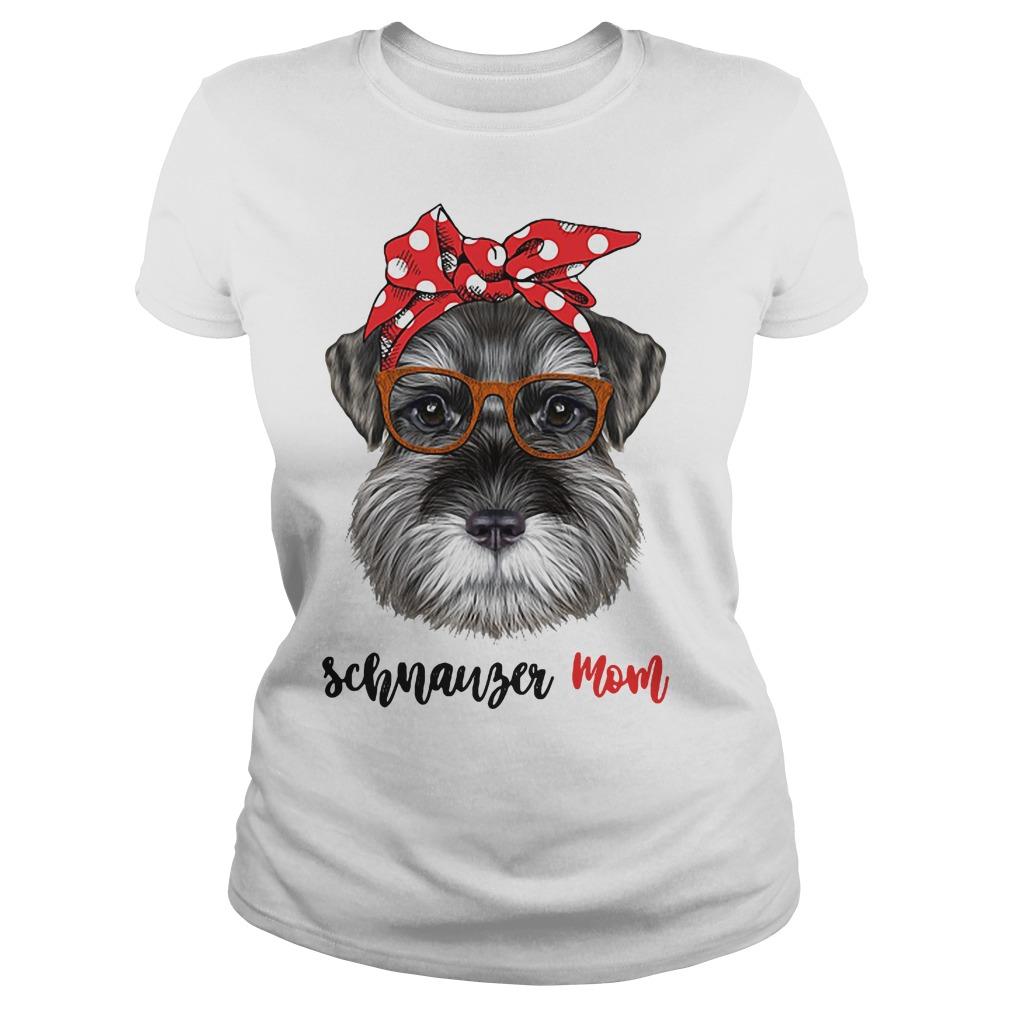Schnauzer Dog Mom leopard bandana shirt