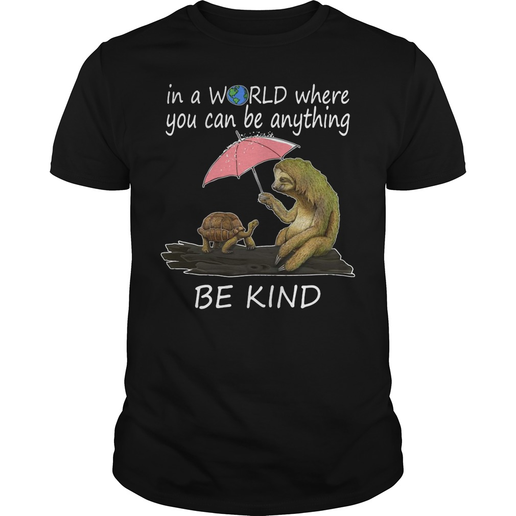 Sloth and turtle in a world where you can be anything be kind shirt