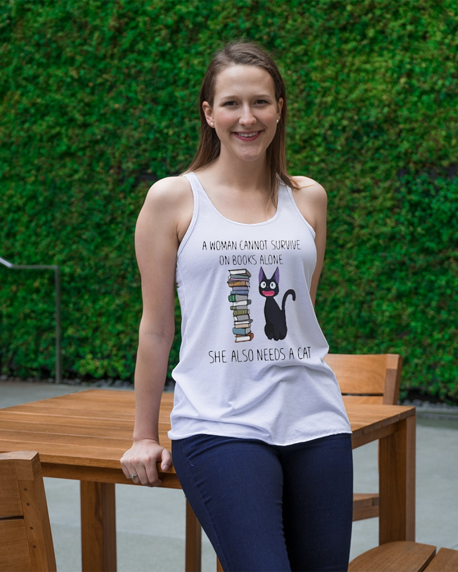 A woman cannot survive on book alone she also need a cat tank top