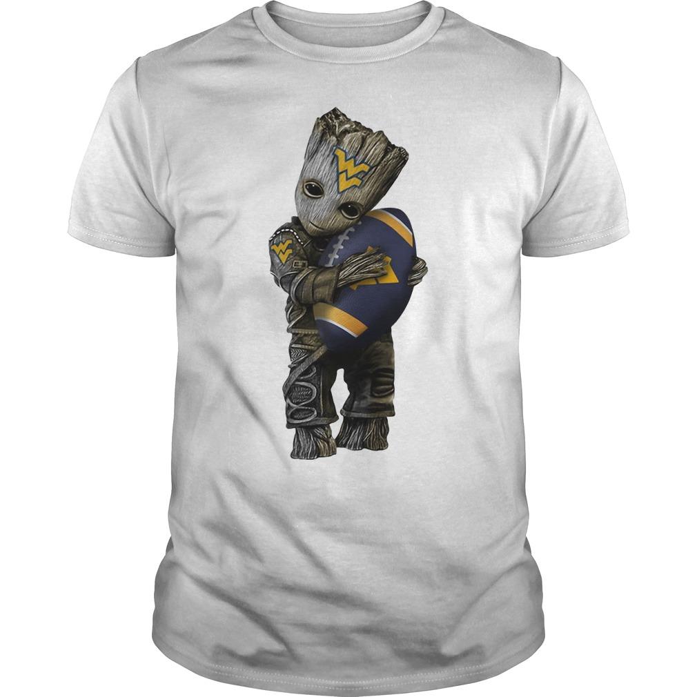 Baby Groot hug West Virginia Mountaineers shirt