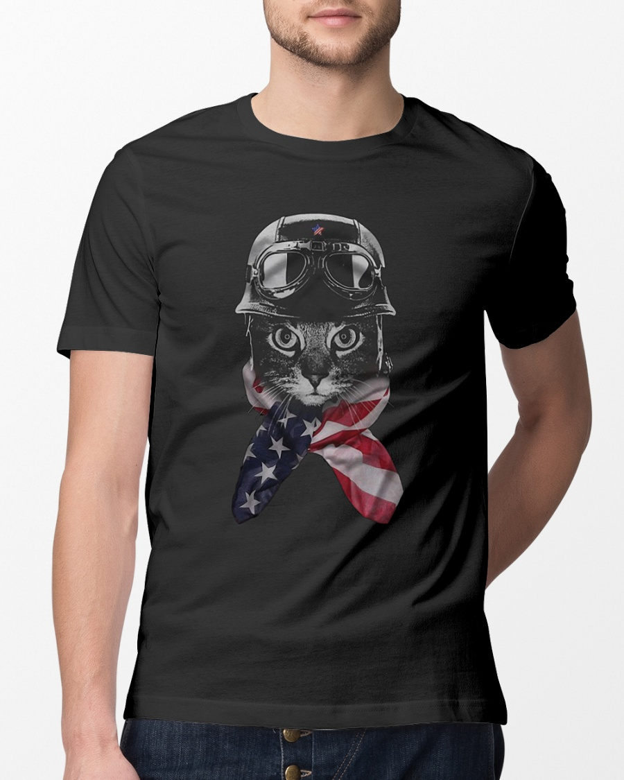 Cat warrior American Flag 4th July shirt