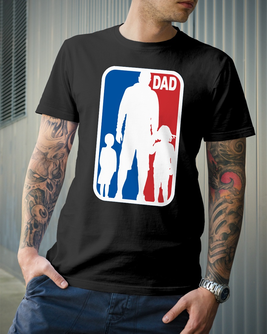 Daddy and and son daughter sport NBA shirt