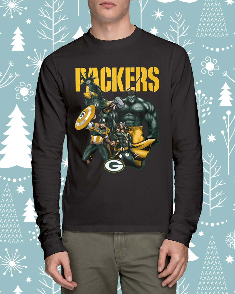 Green Bay Packers Avengers Thor Captain America Hulk and Iron man longsleeve