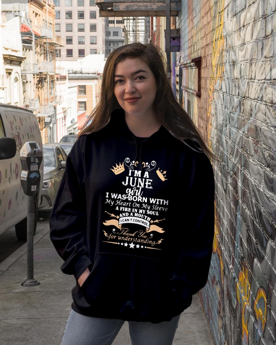 I'm a June girl I was born with my heart on my sleeve hoodie