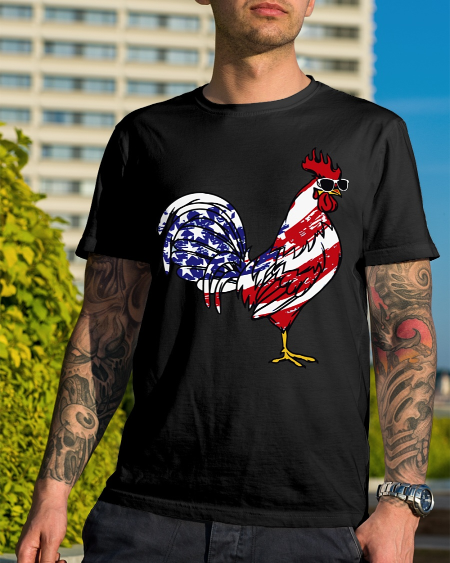 Rooster glass American flag 4th of July shirt