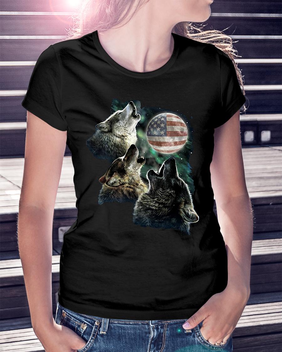Three Wolf Moon American flag ladies shirt