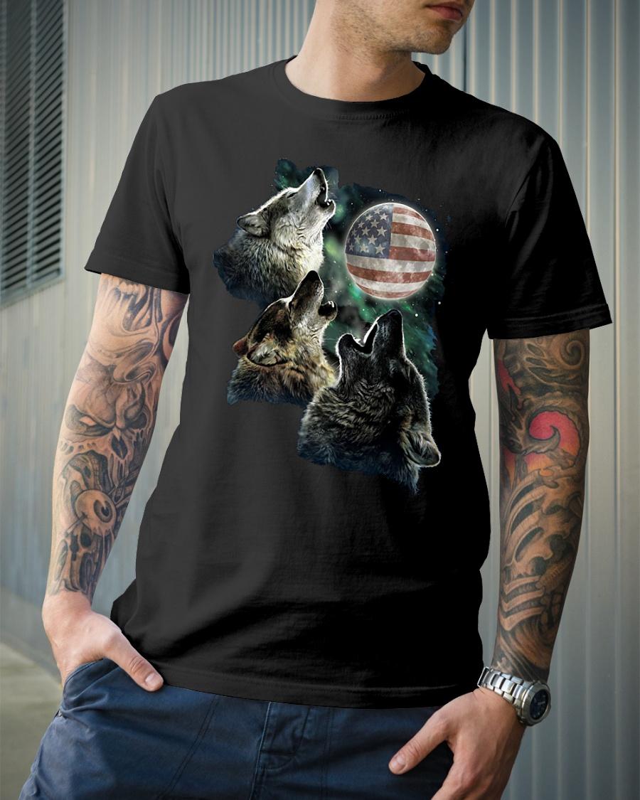 Three Wolf Moon American flag shirt