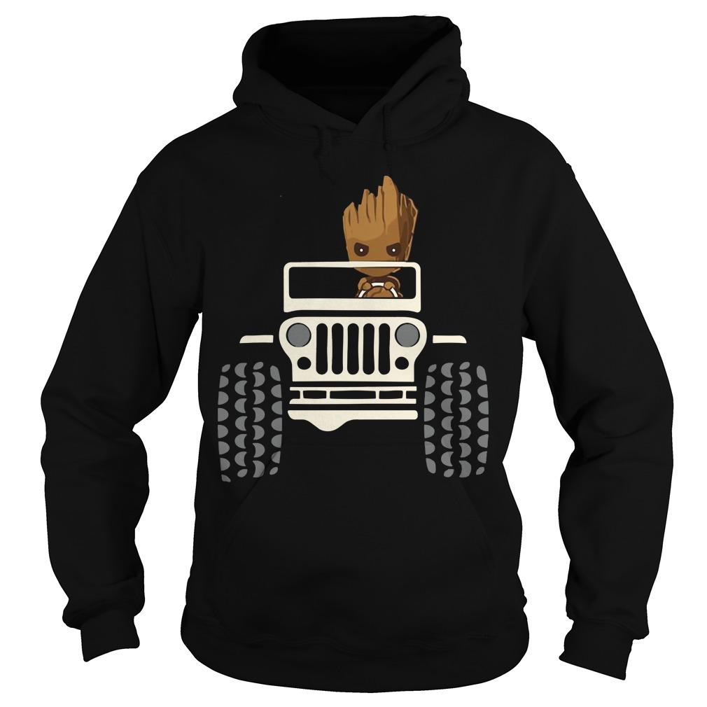 Baby Groot driving Jeep hoodie