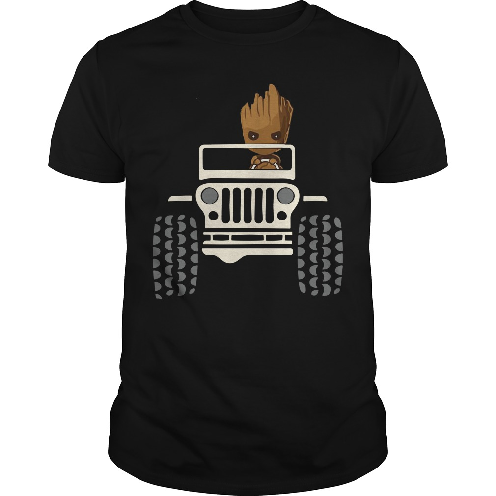 Baby Groot driving Jeep shirt