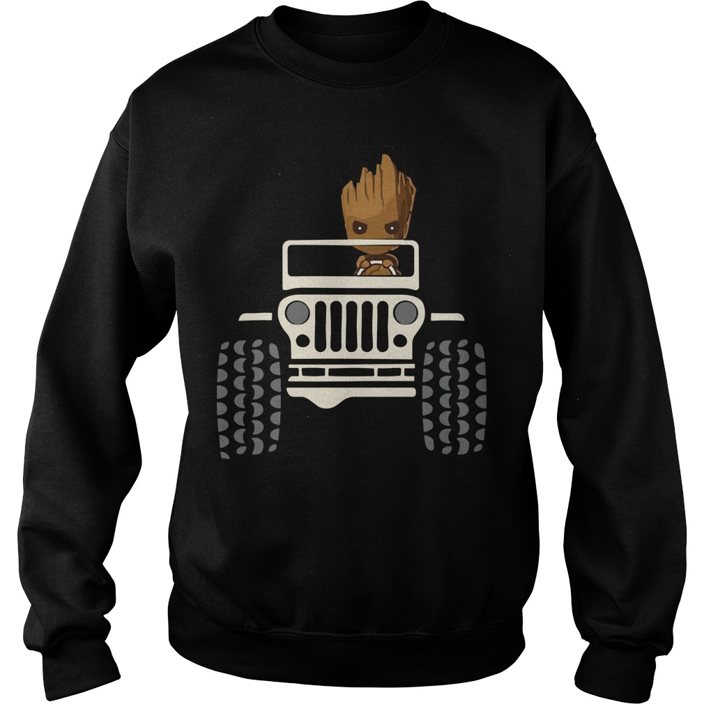 Baby Groot driving Jeep sweater
