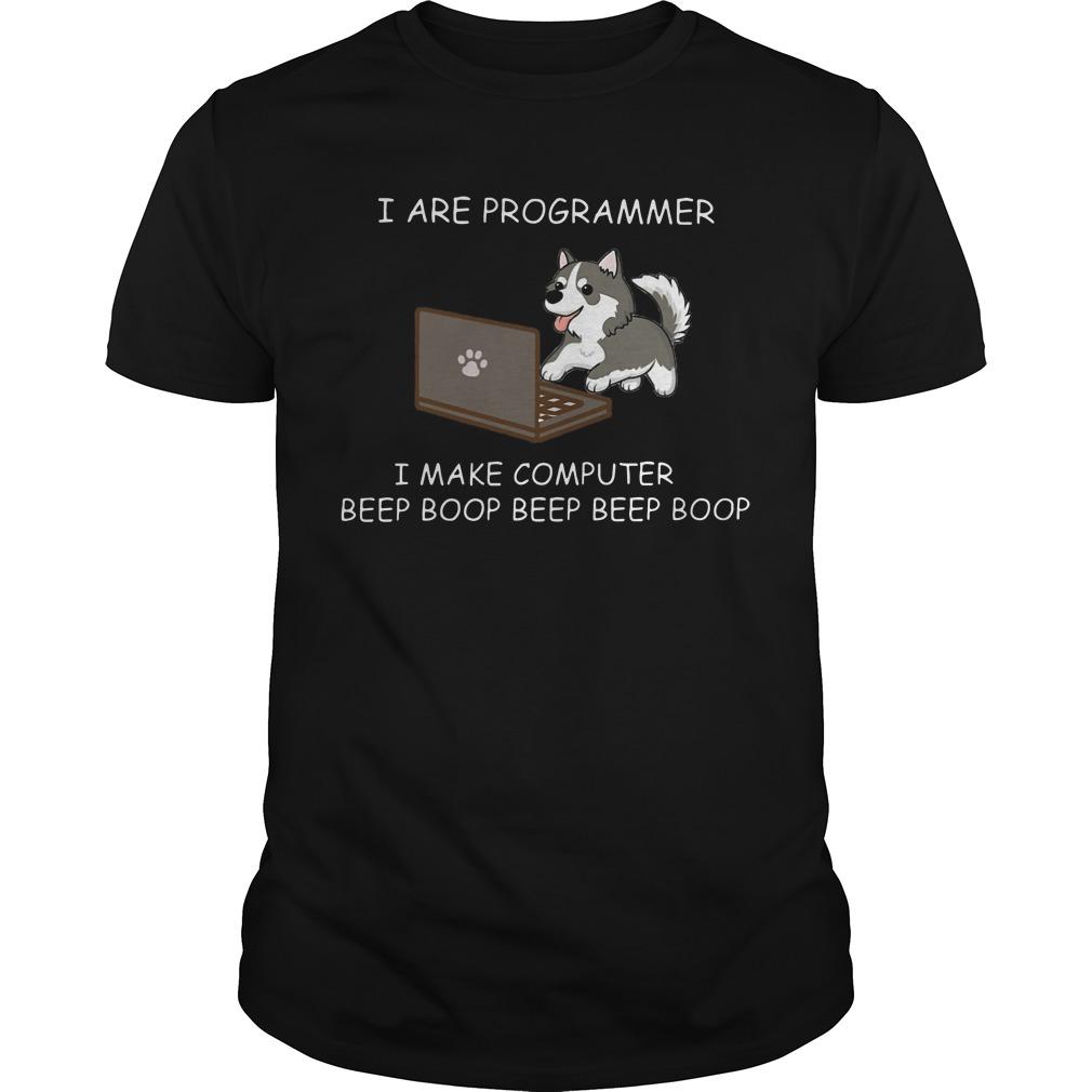 Husky I are programmer I make computer beep boop shirt