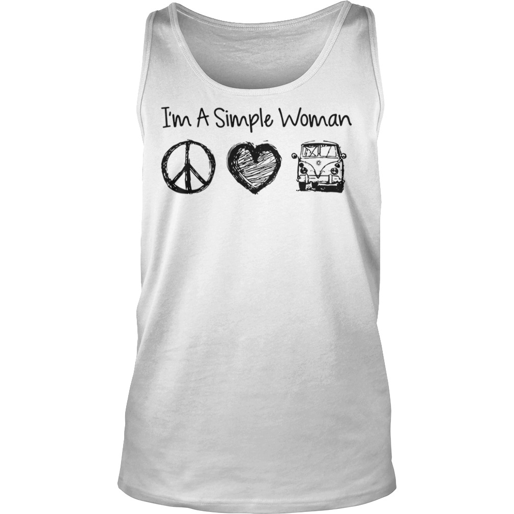 I'm a simple woman I likes hippie, heart and Mystery Machine tank top
