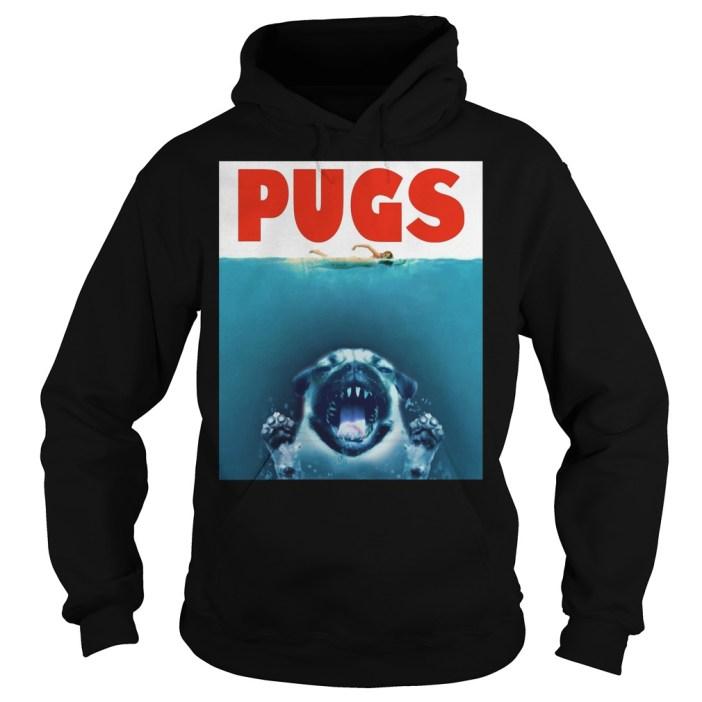 A Pugs Jaws Shark hoodie