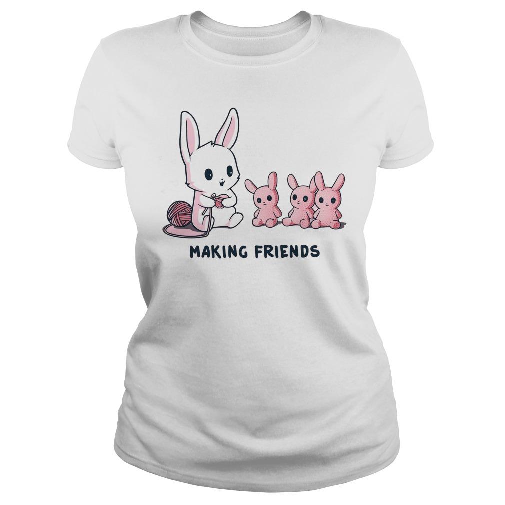 Baby rabbit making friends ladies shirt