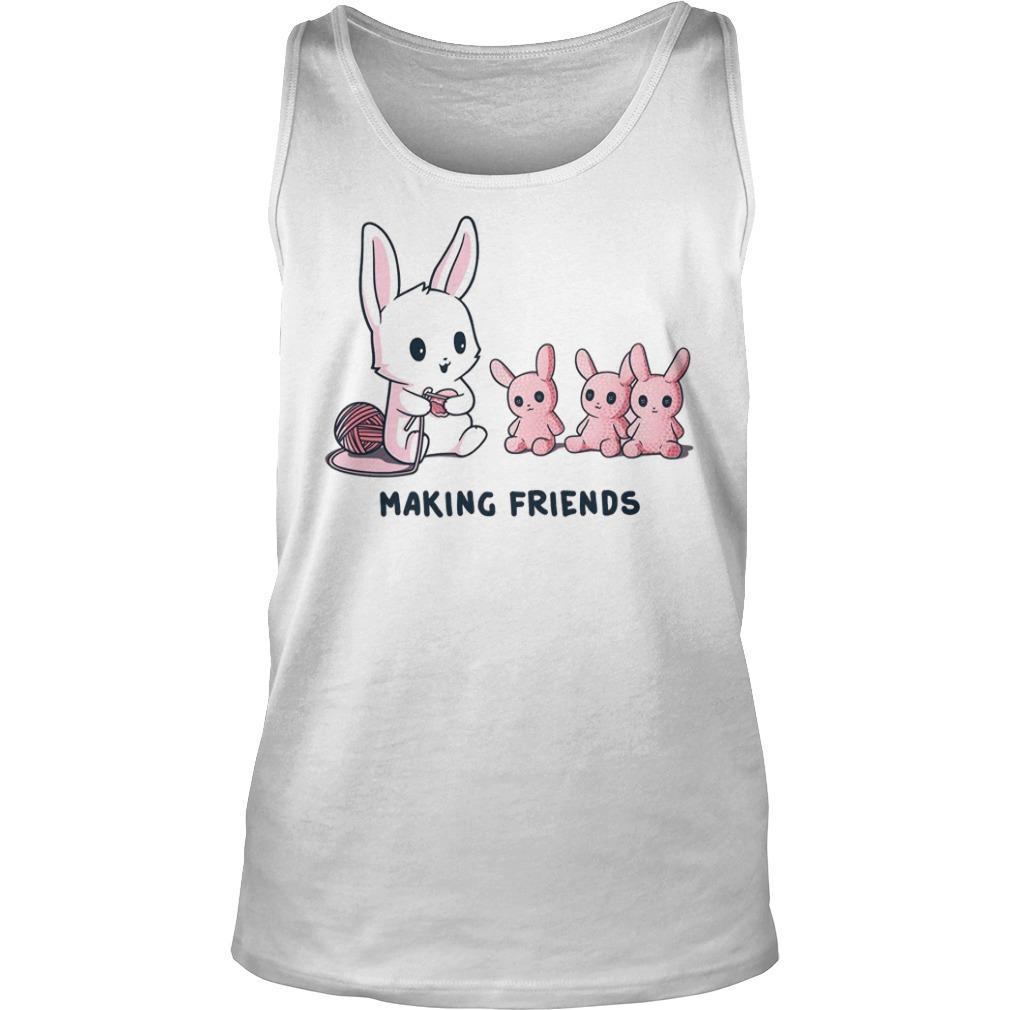 Baby rabbit making friends tank top
