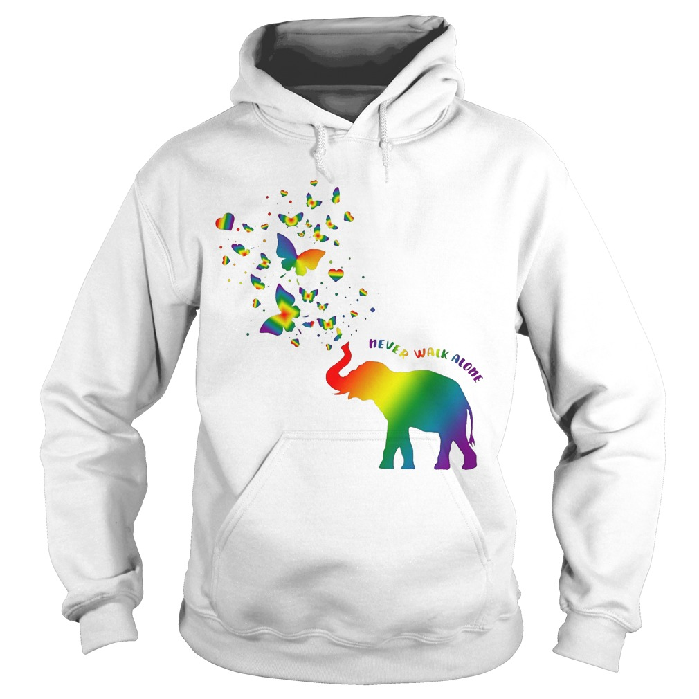 Butterfly and Elephant never walk alone Autism hoodie
