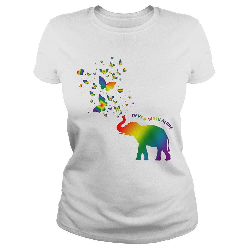 Butterfly and Elephant never walk alone Autism ladies shirt