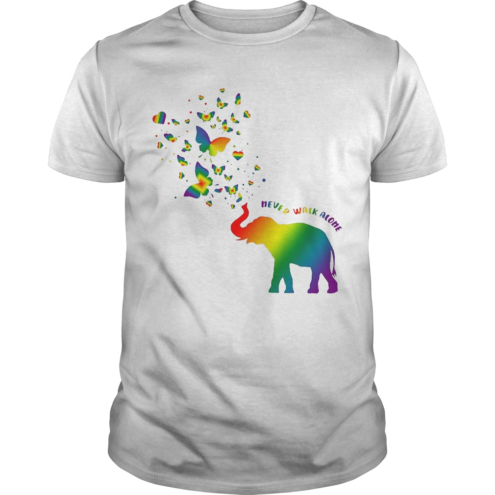 Butterfly and Elephant never walk alone Autism shirt
