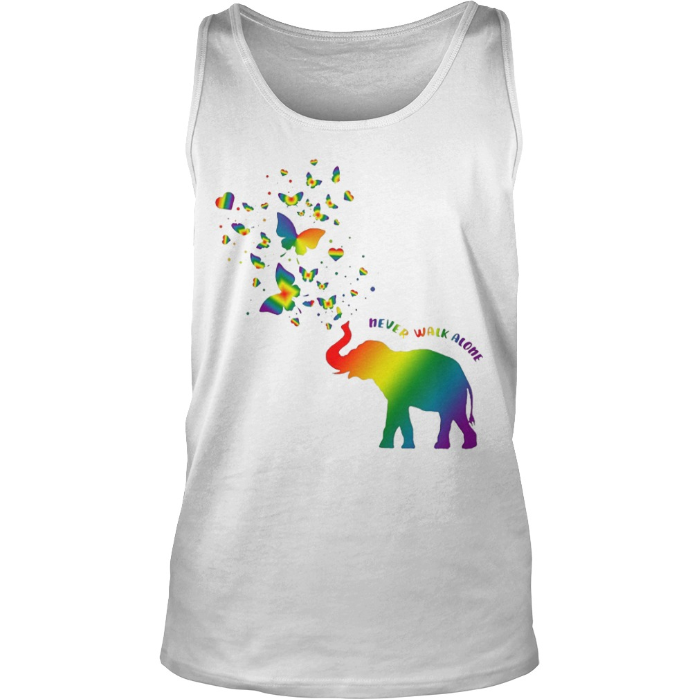 Butterfly and Elephant never walk alone Autism tank top