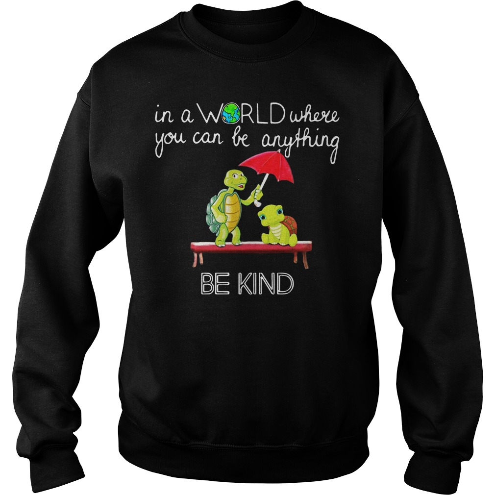 In the world where you can be anything Turtle be kind sweater