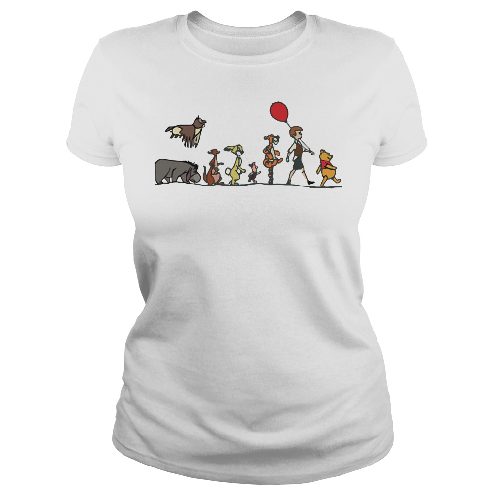 Pooh, Christopher Robin, Tigger, Piglet, Rabbit, Kanga, Eeyore, Kessie ladies shirt