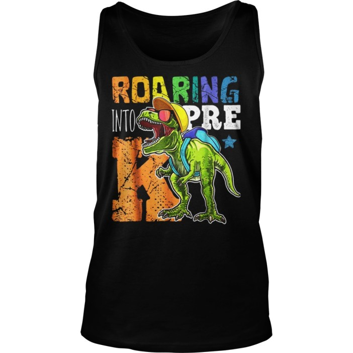 Roaring Into Pre K Dinosaur Wearing A Cap tank top